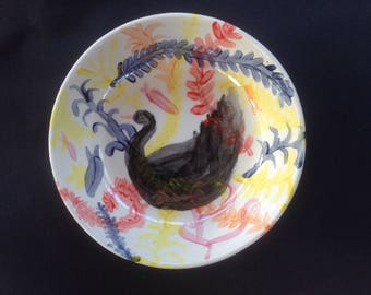 Hand Painted Ceramic Black Swan with Fish and Plants Design