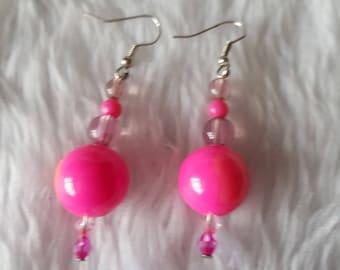 Handmade Shocking Pink Beaded Earrings