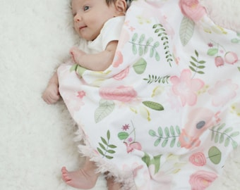 Rose bouquet Floral Baby Lovey Blanket faux fur minky READY TO SHIP monochrome baby gift cloud blanket llama newborn gift plush photo prop