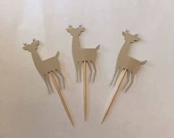 24 Assorted Deer Toothpicks, woodland Cupcake Toppers, woodland Baby Shower, Woodland Theme, Appetizer Picks, Woodland birthday