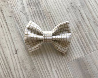 Ivory and gold baby bow- headband or hair clip- gold hair accessories - christmas hair clip - bows for kids