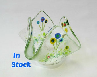Fused glass flowers candle holder, drape candle holder, handmade stained glass art, Mother's Day gift for grandma, gift for gardener