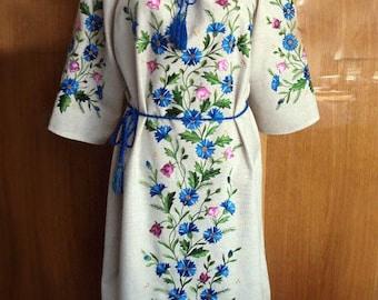 Folk dress cornflowers embroidery hand embroidered vyshyvanka long dress ukrainian fashion flower dress gray cloth flower embroidery