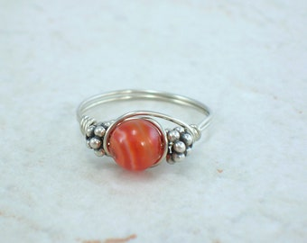 Sterling Silver Red Sardonyx and Bali Bead Ring