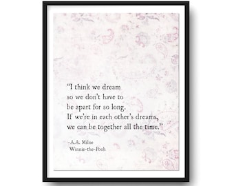 Classic Winnie The Pooh Wall Art, Winnie the Pooh Art Print, Pooh Quotes, A.A. Milne Quotes, Pooh Nursery Art Print, Large Wall Art