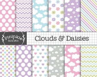 Clouds and Flowers Digital Paper Pack, Floral, Love Hearts, Girl Scrapbooking Paper, Sumer Digital Paper, Instant Download, Commercial Use