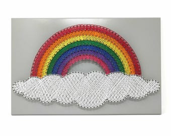 Large Rainbow on Cloud String Art Finished Artwork