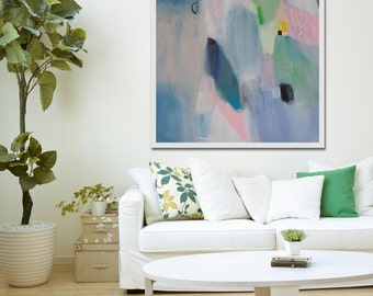 """PRINT of ABSTRACT PAINTING, white, blue, pink modern painting, giclee print """"French Fancy 2"""""""