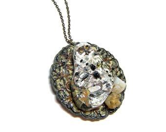 ON SALE Snowy Owl Pendant Wearable Art Pendant Hand Painted Pendant Owl Pendant Assemblage Jewelry Top Selling Jewelry Unisex Pendant