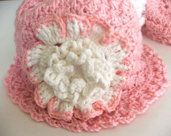 Crochet Hat PATTERN Instant Download - Child's or Adult's Shell Stitch Hat with 3 Flower Patterns