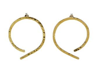 Thin hammered hoop earrings, brass stud hoops, 50 mm earrings, open big hoops, gold medium hoop, women gift under 25, large simple jewelry