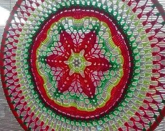 Crochet flower mandala fluorescent 58 cm