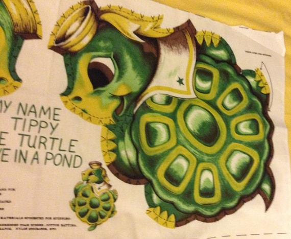 Cut and sew vintage pattern for animal pillow Tippy the turtle from ...