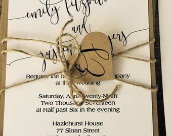 Emily Wedding Invitation -- Flat Panel Wedding Invitation -- Rustic Wedding Invitation Ensemble -- Charming Wedding Invitation