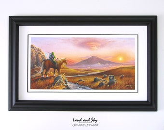 8x16 Video Game Art, Legend of Zelda, Link Epona Navi PRINT on Fine Art Paper by J. Mandrick