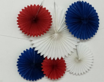 "6 pcs Mixed Sizes 12"" 16"" Royal Blue Red White Party Paper Fan Baby Shower Decoration Birthday Decor Wedding Party Decor Wall Hanging Decor"