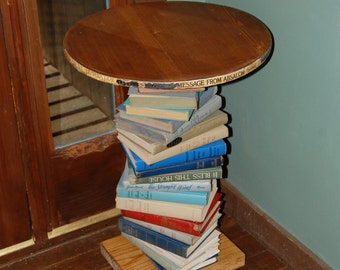 Pine Wood Side Table made with a Spiral of Books, Repurposed Book Table