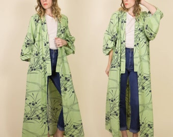 Vintage Mint Green & Navy Blue Floral Kimono, Duster Jacket