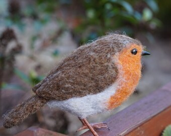 Needle Felt Robin Bird Sculpture