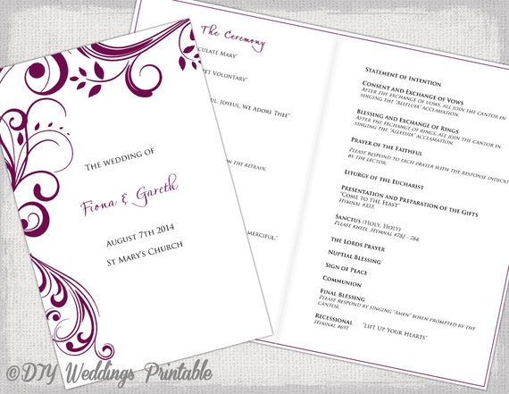 Catholic Wedding Program Template Sangria Scroll - Catholic wedding program template