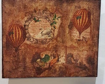 Decoupage Hot Air Balloon Hanging Plaque