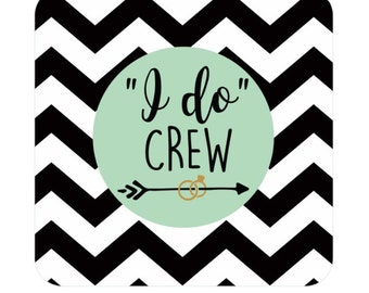 100 Bridal Shower Party Coasters - Your Choice of Colors - Disposable Drink Coasters, Custom Bachelorette Party Coasters - I Do Crew Coaster