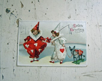 Valentine Postcard, Clowns, Free Shipping