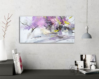 Original Small Oil Painting Landscape, Spring Artwork on Canvas, Gift for Mom, Pink Art Abstract Impressionist