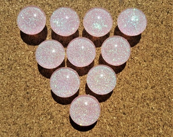Light Pink Glitter Thumbtacks, Push Pins Set. Glass Thumbtacks. Perfect for Bulleting Boards, Office Gifts, Office Decor.