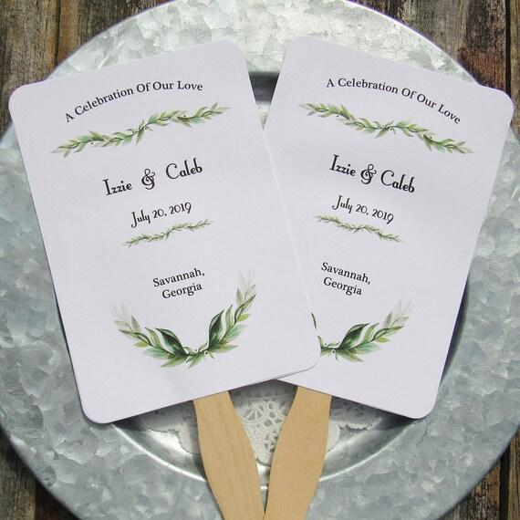 greenery wedding wedding fan fans personalized