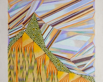 Abstract art, geometric composition. Oil on paper, contemporary artworks.