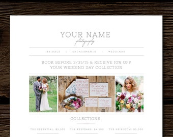Photography Price List Template - Pricing Guide Templates - Photo Marketing Design - Wedding Photographer Branding Templates