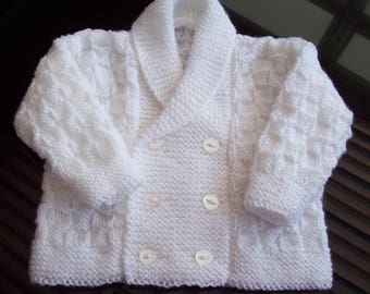 Baby Boys Jacket ,  Hand Knitted White Double Breasted Cardigan size 3 to 6 Months