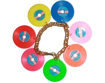 Vintage Kitsch Vinyl Record Bracelet - Vinyl record collector jewelry kitschy earring jewelry wax colored vinyl Dead stock retro pin up