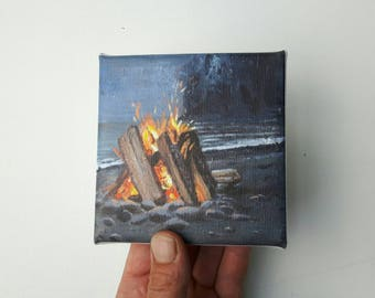 Small campfire print, print on canvas, tiny painting, small canvas, print acrylic, campfire painting, explore print, gift for him, glicee