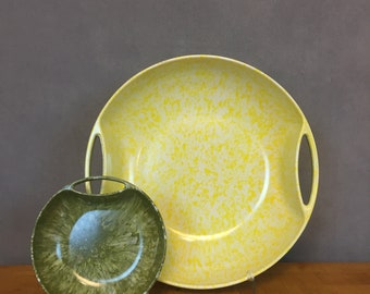 Pair of Yellow and Green Melamine Serving Bowls