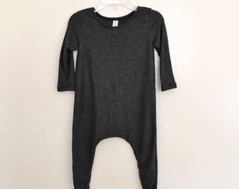 Charcoal Lightweight Rib Knit Harem Romper- baby onesie, solid romper