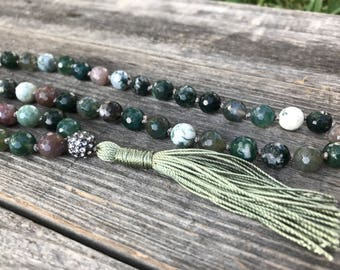 Moss Agate Necklace, Mala Necklace, Moss Agate Mala, Prayer Beads, Moss Agate Crystal, Mala beads 108, Boho Jewelry, Tassel Necklace