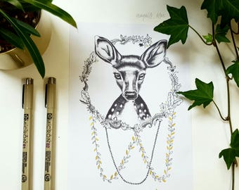 A5 Forest Fawn Bohemian Drawing Art Print