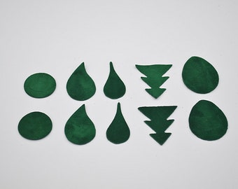 Set of 10 forms Pine Green suede leather for jewelry making