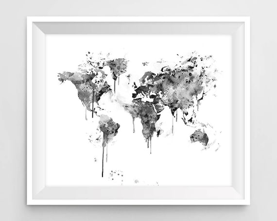 World map print black and white watercolor travel map wall te gusta este artculo gumiabroncs