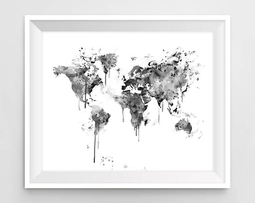 World map print black and white watercolor travel map wall ampliar gumiabroncs Choice Image