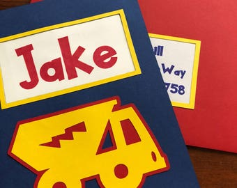 Personalized Framed Toy Truck Birthday Card