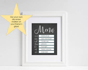 Meal Prep   Meal Planning Sign   Weekly Menu   Weekly Meal Planner   Menu Board   Menu Planner   Kitchen Decor   Kitchen Wall Art   Kitchen