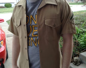 Vintage Marines Private First Class short sleeve dress shirt size 15 fits a small to medium free domestic shipping