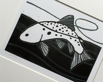 Summer Trout (I) :  Two colour linocut, trout & fly fishing, small edition print