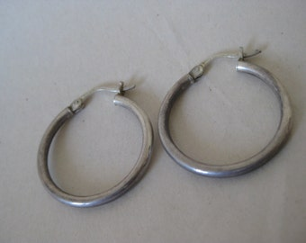 Hoop Sterling Earrings Pierced Wire Vintage Silver 925
