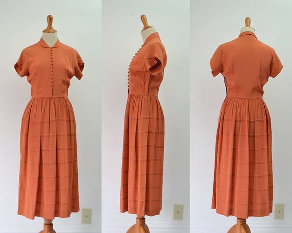 Clothing 40s Vintage Vintage Dress dress Dress Dress Dress Small Vintage 1940s 1940s Orange Vintage Dress 40s 1940s 40s Clothing Rayon w5vFq7