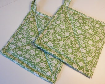 Cream and White Floral on Soft Mint Green Quilted Potholders or Quilted Hotpads Set