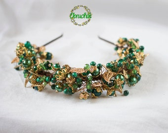 Emerald/Gold hair accessory Wedding headpiece Party jewellery headbands Bridal crown, Pearl bridal tiara,Gift for her,Christmas tiara